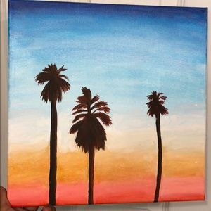 "12"" x 12"" acrylic painting of sunset & palm trees"
